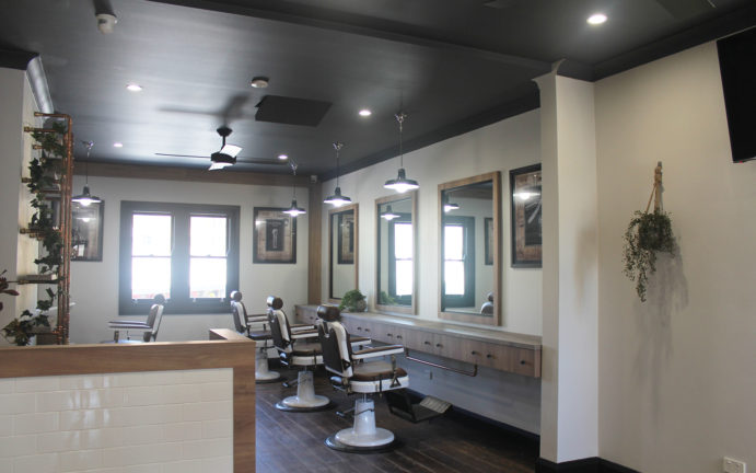 Vintage Industrial Barber Shop design